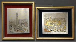 lot of 2 Framed art consisting of two silvered metal