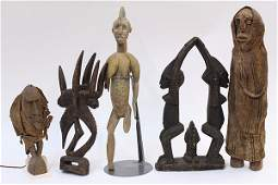 (lot of 5) West African figural wood carvings including