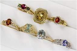 Collection of colored gemstone diamond and 14k gold