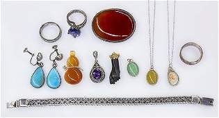 Collection of gem and silver jewelry