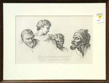 Print William Hogarth Four Heads from the Raphael