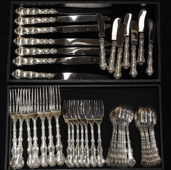 American sterling silver flatware service for seven by