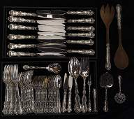 American sterling silver flatware service for twelve by