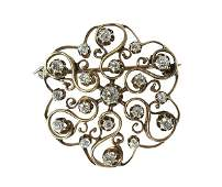 Victorian diamond and 14k yellow gold brooch