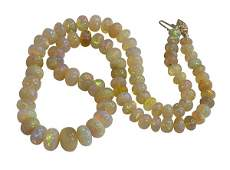 Ethiopian opal and 14k yellow gold necklace