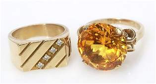 Collection of two gem and 10k yellow gold rings