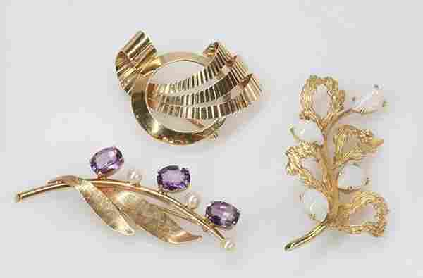 Collection of three brooches