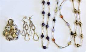 Lot of 5 Collection of gemstone and 14k gold jewelry