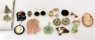Collection of gem and yellow gold jewelry
