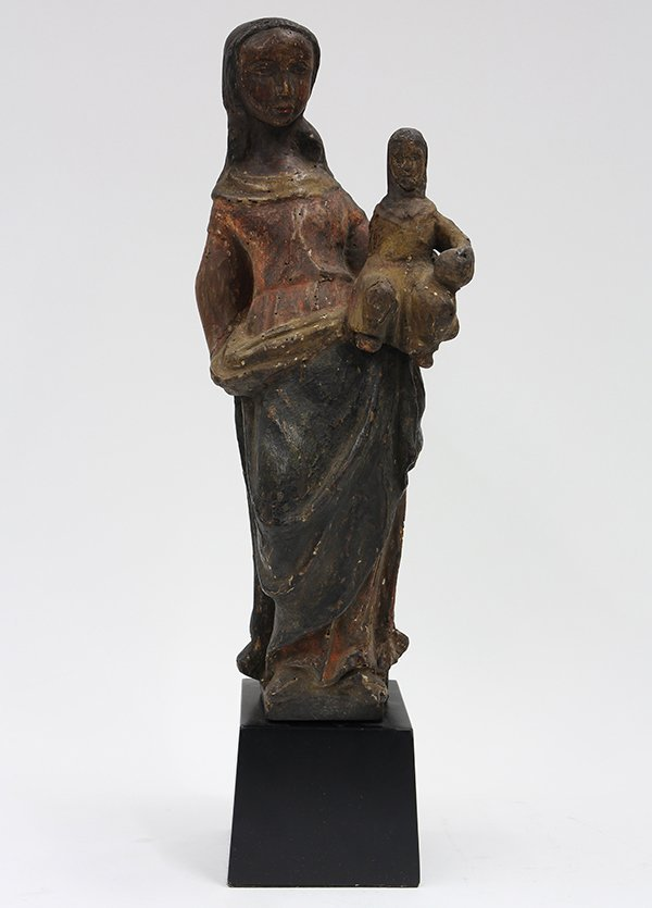 Continental carved wood Santos figure of Madonna and