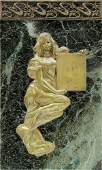 French Art Nouveau gilt bronze figural plaque