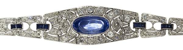Art Deco sapphire diamond and platinum bracelet