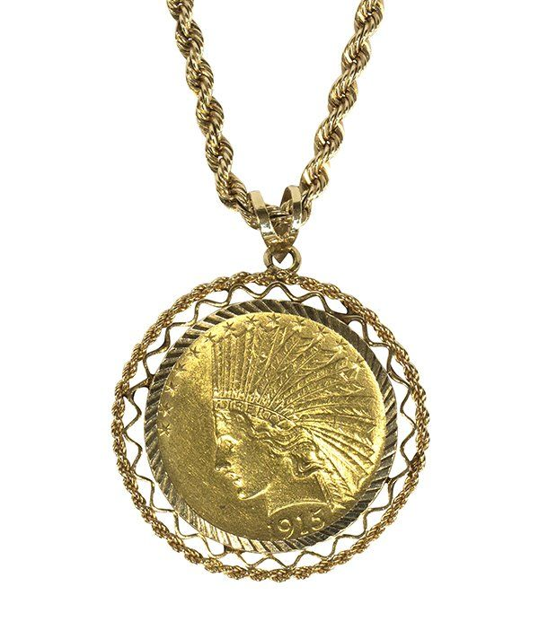 US 10 dollar gold coin pendant-necklace