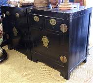 Two Chinese Black Lacquered Chests