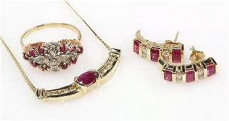 Collection of ruby diamond and 14k yellow gold jewelry