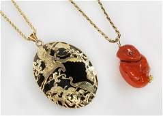 Collection of two gemstone and 14k yellow gold pendant