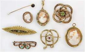 Collection of gem gold and goldfilled jewelry