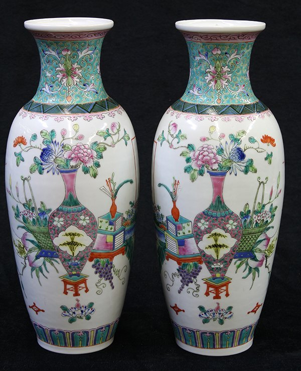 Two Chinese Porcelain Vases, Flowers