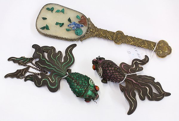 Chinese Mirror/Enameled Gold Fish