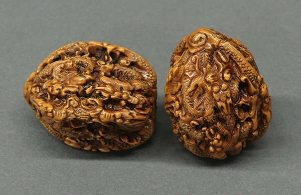 Two Chinese Walnut Shells, Dragons