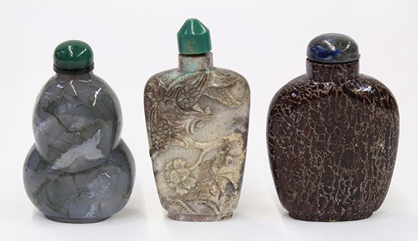 Three Chinese Stone Snuff Bottles