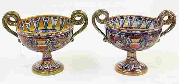 Pair of Continental ceramic compotes in the style of