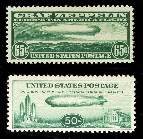 (lot of 2) 1930 65 Cent Zeppelin Scott #C13; and a 1933