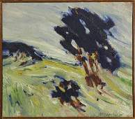 Painting, Abstract Hillside Landscape with Trees, 1974