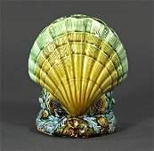 English majolica shell form floral vase, circa 1890,