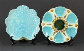 lot of 2 English majolica turquoise ground plates