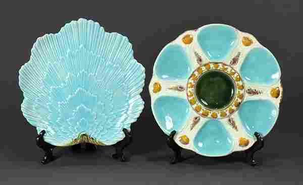 (lot of 2) English majolica turquoise ground plates,