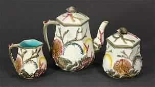 "(lot of 3) Wedgwood majolica ""Argenta"" teaware suite,"