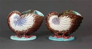 (lot of 2) Copeland majolica shell form spoon warmers,