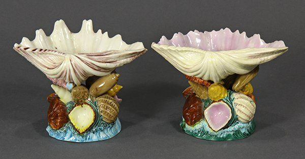 ( lot of 2) Copeland Majolica shell-form vases, circa