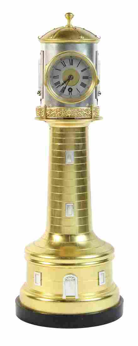 French Industrial gilt bronze automaton lighthouse