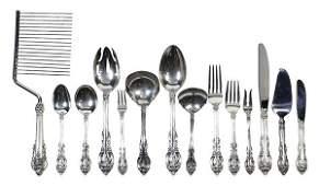 American sterling silver flatware service for twenty by