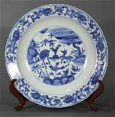 Chinese Blue and White Charger, Deer