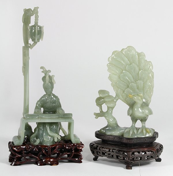 Two Chinese Jade Carvings, Peacock/Beauty