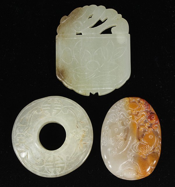 Three Chinese Jade/Hardstone Plaques