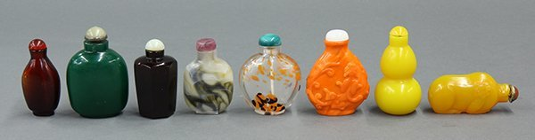 Eight Chinese Glass Snuff Bottles