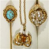 Collection of vintage gem and gold jewelry