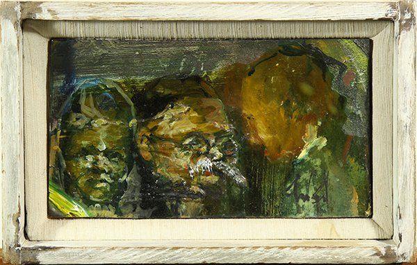 Three Figures, mixed media on wood