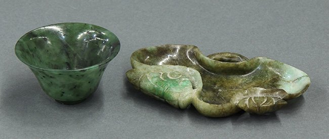 Chinese Jade Cup and Dish