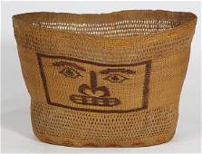 Rare Tlingit polychrome and openwork basket