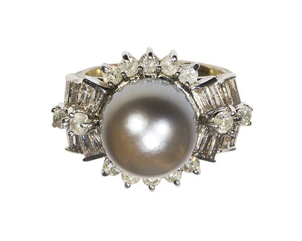 Black South Sea cultured pearl, diamond and 18k gold