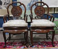 Two Chinese Hardwood Arm Chairs, Peonies