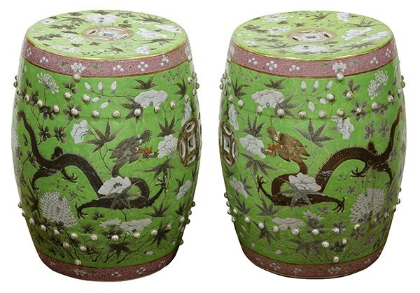 Two Chinese Porcelain Garden Stools