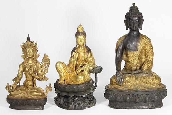 Three Sino-Tibetan Buddhist Figures