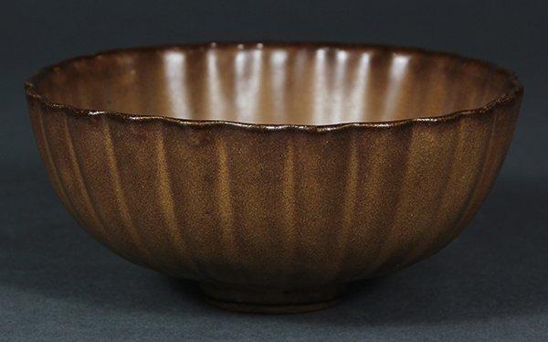 Chinese Brown Ceramic Bowl, Marked Guan