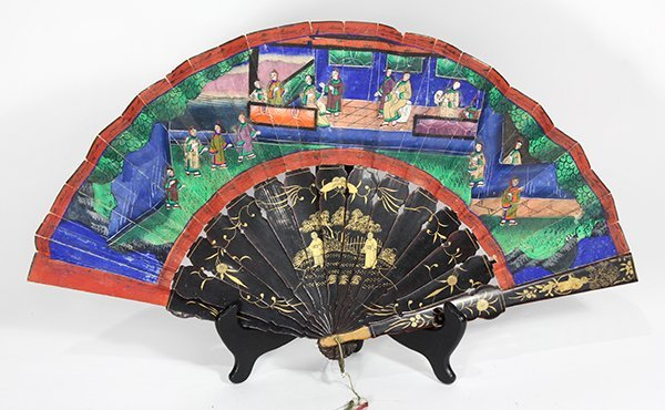 Chinese Export Painted Folding Fan
